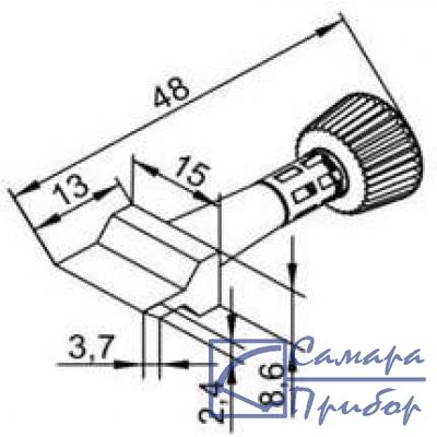 плоское широкое (15 мм) жало для нагрева отрезка медной оплетки WICKNC при чистке контактных площадок печатных плат от остатков припоя (к i-Tool) 102ZDLF150